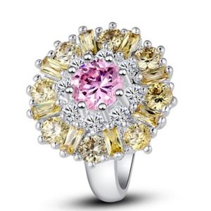 Pink white topaz and citrine ring
